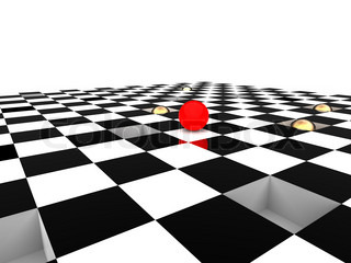 3d illustration of checkerboard to illustrate with red ball the risk of strategy