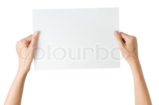 woman with blank paper isolated