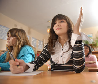 Cute schoolgirl is raising her hand during lesson