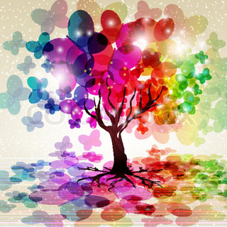 Abstract colorful background. Tree with a crown made of butterflies. Vector illustration.