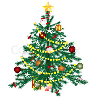 on a white background Christmas tree with ornaments and gifts