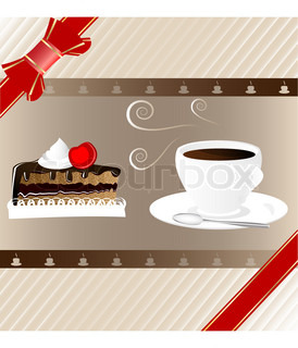 on a decorative background hot cup of coffee and a piece of chocolate cake