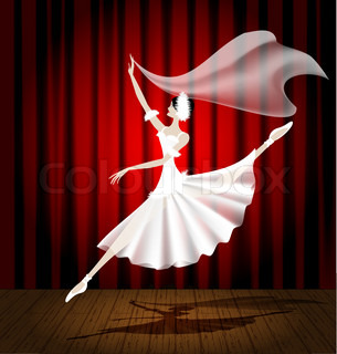 against the background of the stage and red curtain dancing ballerina in a white dress