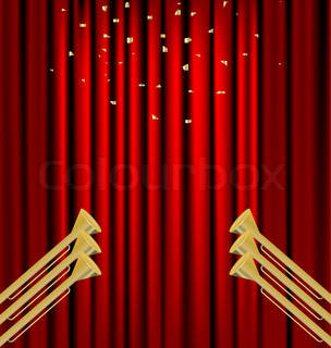 against the backdrop of a red curtain gold fanfare