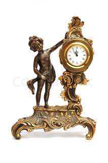 Antique clock with figurine of women isolated on white background