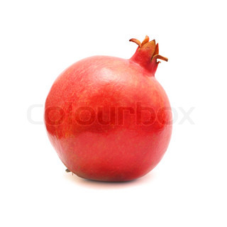 Red pomegranate fruit isolated on white