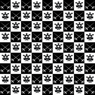 on the background to black and white checkered, similar to a chessboard, the black squares arranged white crossed swords on white squares - black arms with a crown