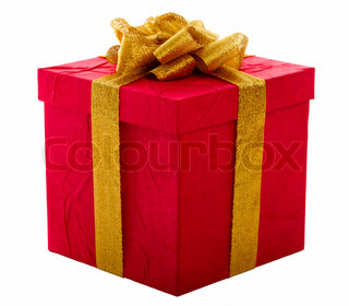 Red gift box with gold bow, isolated over a white background