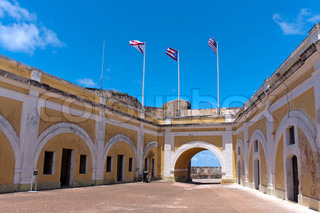 The interior of El Morro fort located in Old San Juan Puerto Rico