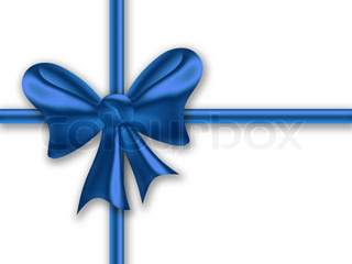 blue gift ribbon with a bow on a white background