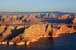 Lake Powell lit up the last rays of the setting sun