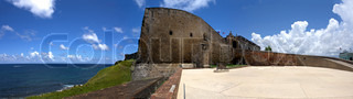 A wide angle panoramic view of the historic San Cristobal fortification located in Old San Juan Puerto Rico