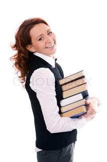 Young beautiful student girl with books in hand
