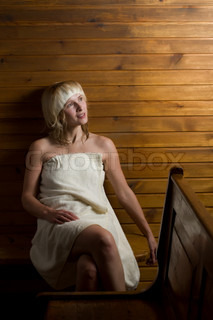 junge frau in der sauna stock foto colourbox. Black Bedroom Furniture Sets. Home Design Ideas