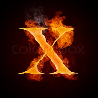 Fire Letter X Isolated on Black Background