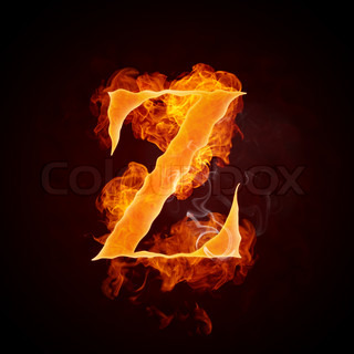 Fire Letter Z Isolated on Black Background