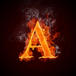 Fire Letters A-Z Isolated on Black Background