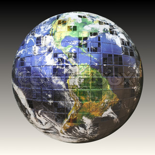 A wire frame sphere of the earth split up in square sections Earth image courtesy of NASA