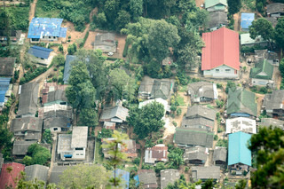 Top view of asian village near Tiger temple, Krabi province, Thailand