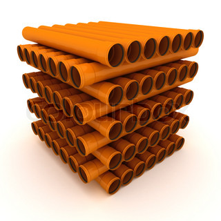 Pile of brown drain pipes isolated on white background