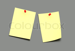 two yellow post-it on a grey background