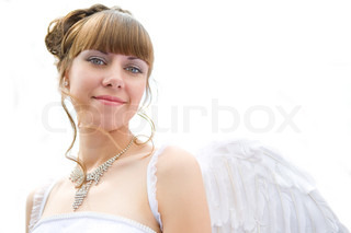 beauty angel woman on white background