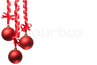 with ribbons and bow on white background