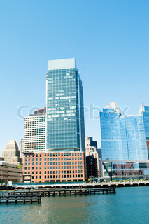 Boston city - 7 Sep - panorama with skyscrapers