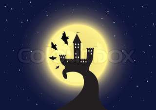 Old castle on the moon background with bats flying around Vector illustration