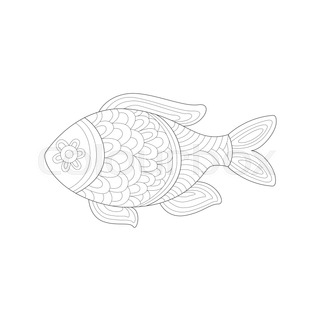 Small Salt Water Tropical Fish Sea Underwater Nature Adult Black And White Zentangle Coloring Book Illustration