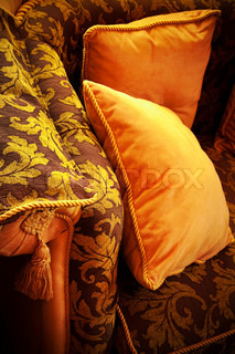 soft yellow pillows on a beautiful couch