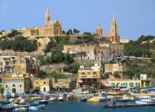 Boats in harbor near Gozo island, Malta