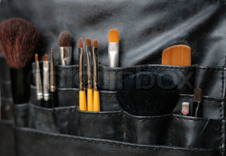 Make-up brushes in a leather bag