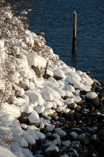 Rocks are covered with snow