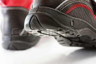 Macro view of walking child shoes