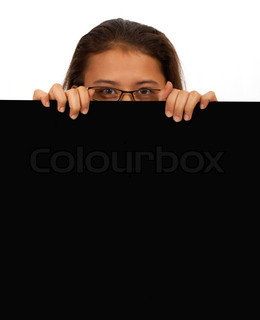 Girl Holding A Blank Black Message Board