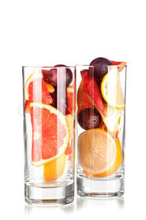 Cocktail collection: Refreshing fruit sangria (punch) without wine isolated on white background