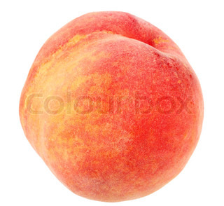 Single a red-yellow peach Isolated on white background Close-up Studio photography