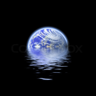 The earth floating in a pool of water - this works great to denote a flood or to represent the earth's oceans
