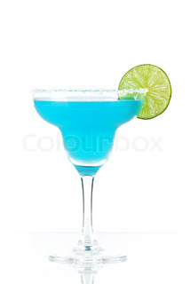 Blue margarita cocktail with lime slice isolated on white background