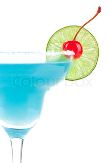 Blue cocktail with cherry and lime slice isolated on white background