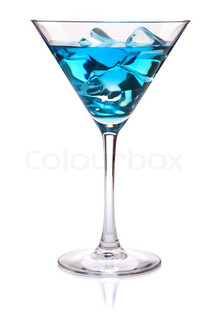 Blue tropical cocktail in martini glass Isolated on white