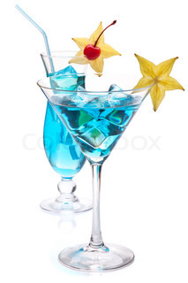 Two blue tropical cocktails Isolated on white background