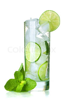 Glass of water with lime, ice and mint Isolated on white background