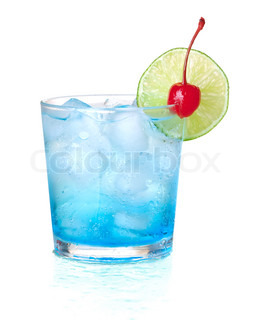 Blue alcohol cocktail with maraschino and lime Isolated on white background