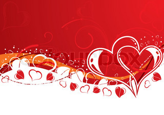Valentines Day background with Hearts and wave pattern, element for design, vector illustration