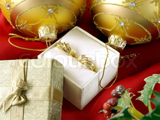 christmas decoration, diamond earrings and gift box