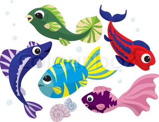Bright colored cartoon fishes set