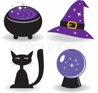 Halloween -Set mit Hexe stuff Vector illustration