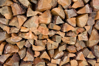 Chopped pine fire wood background